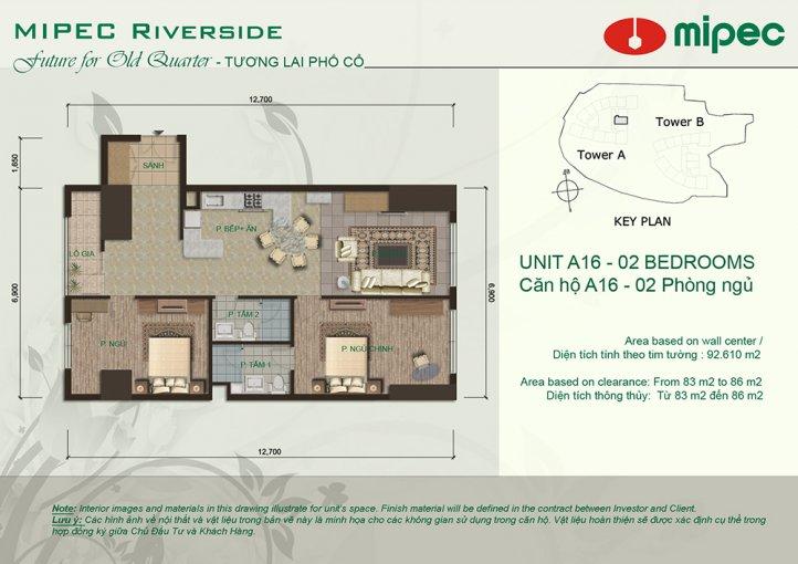 Căn hộ cho thuê 2 phòng ngủ tại Mipec Riverside Project