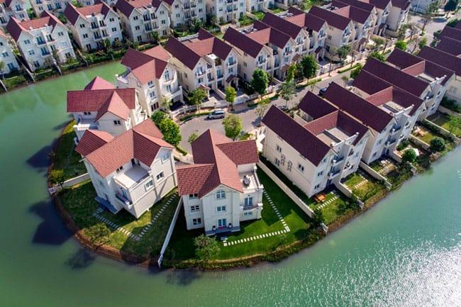 Khu biệt thự Vinhomes Riverside nhìn từ trên cao
